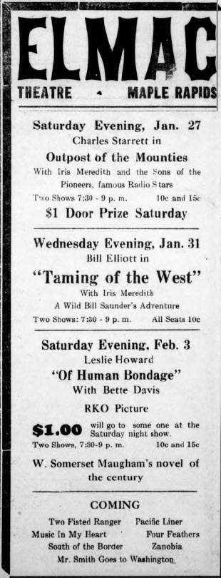 Elmac Theater - JAN 25 1940 AD